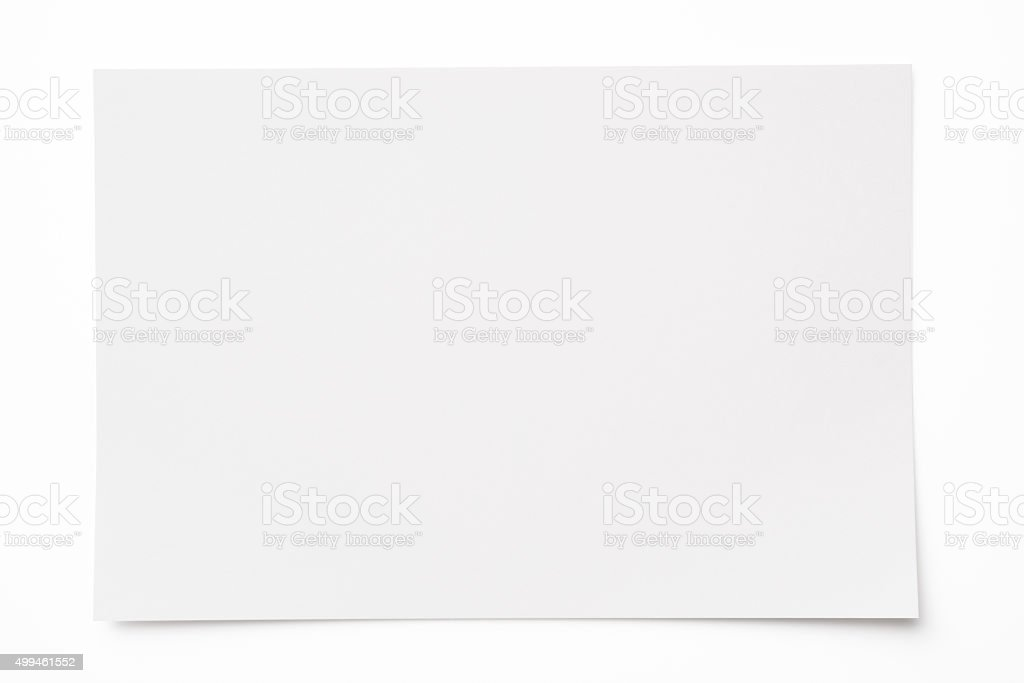 Isolated Shot Of Blank Paper On White Background With Shadow stock – Blank Paper Background