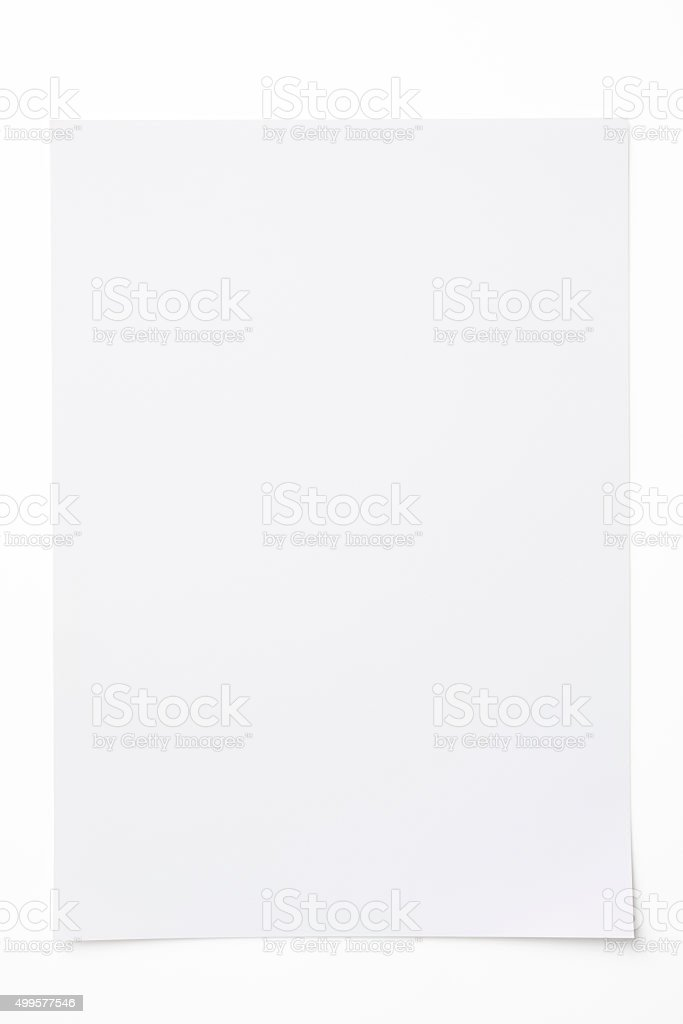 Isolated shot of blank paper on white background with shadow stock photo
