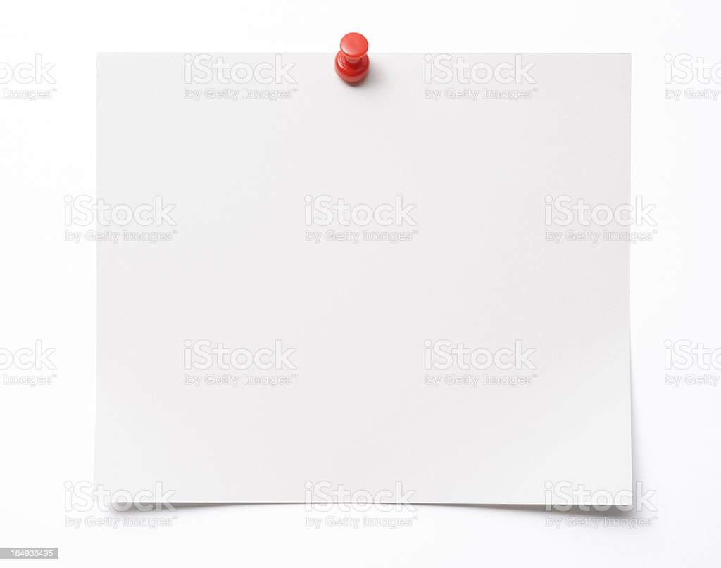Isolated shot of blank paper with thumbtack on white background royalty-free stock photo
