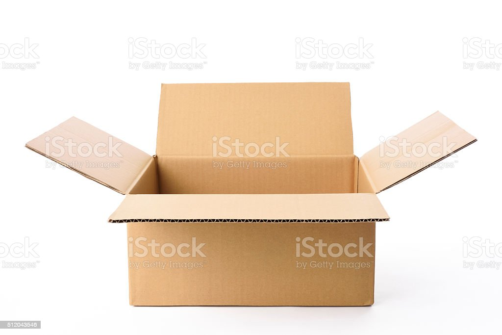 Isolated shot of blank rectangular cardboard box on white background stock photo