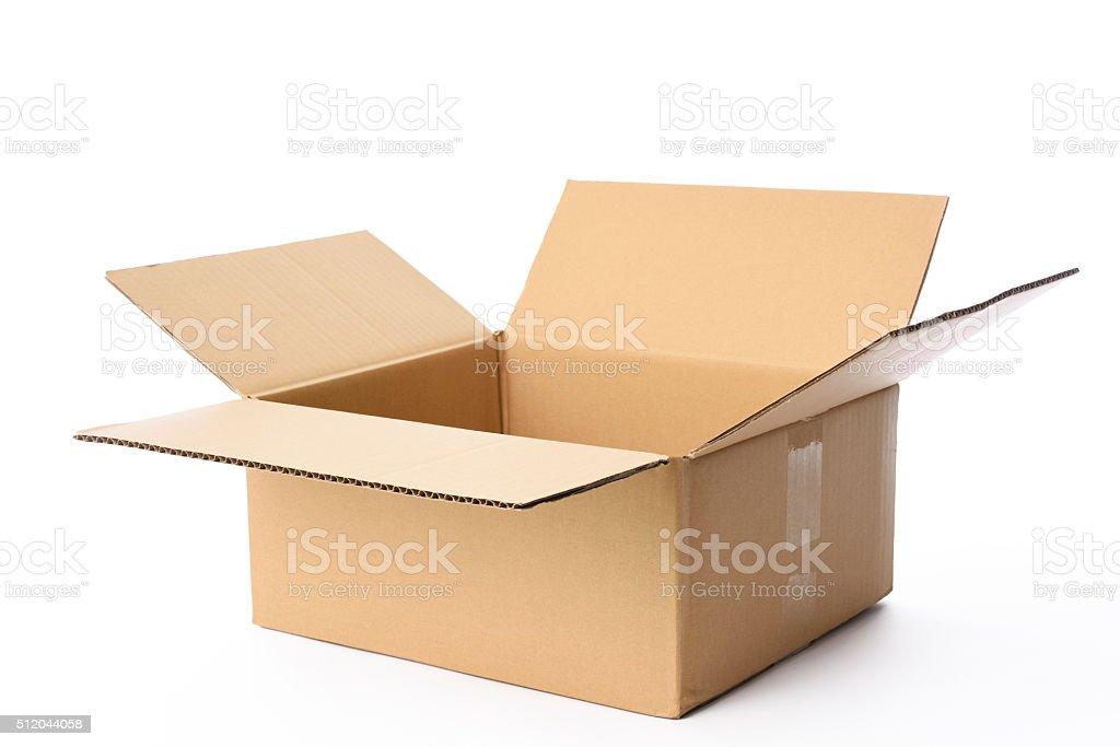 Isolated shot of blank rectangular cardboard box on white background stock photo