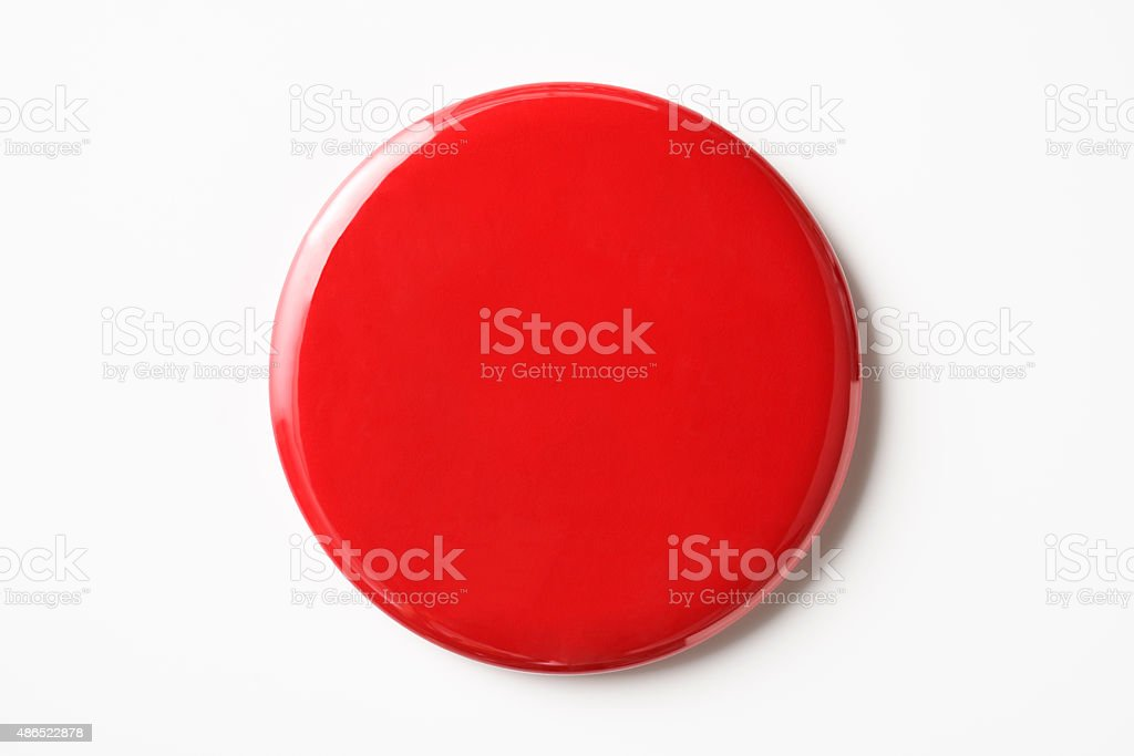 Isolated shot of blank red badge on white background stock photo