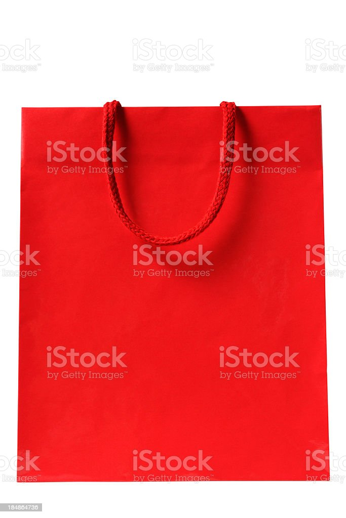 Isolated shot of blank red shopping bag on white background stock photo