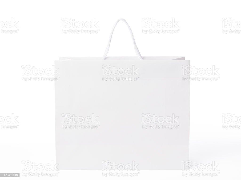 Isolated shot of blank shopping bag on white background stock photo