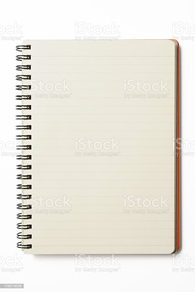 Isolated shot of blank spiral notebook on white background royalty-free stock photo