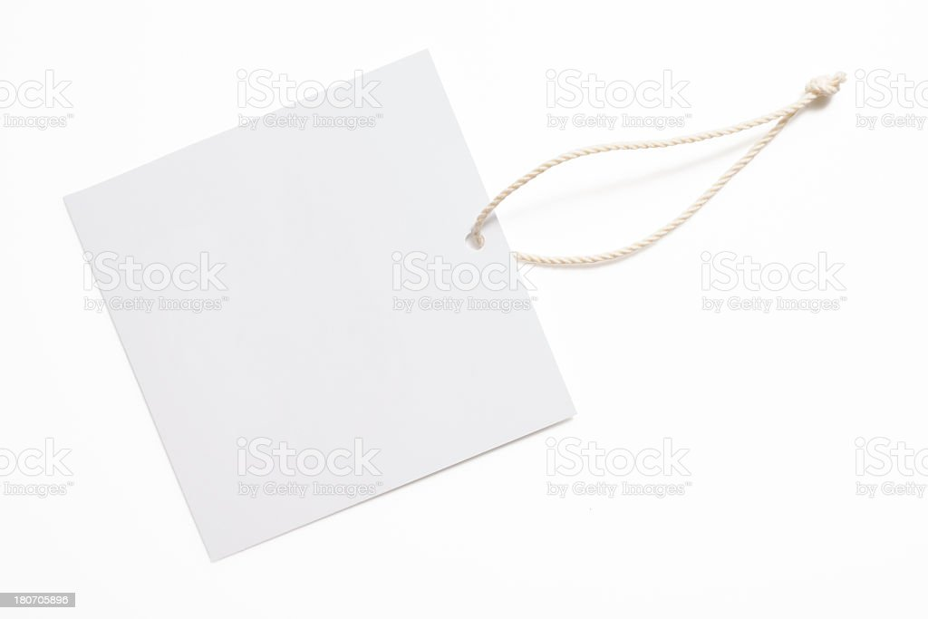 Isolated shot of blank square price tag on white background stock photo