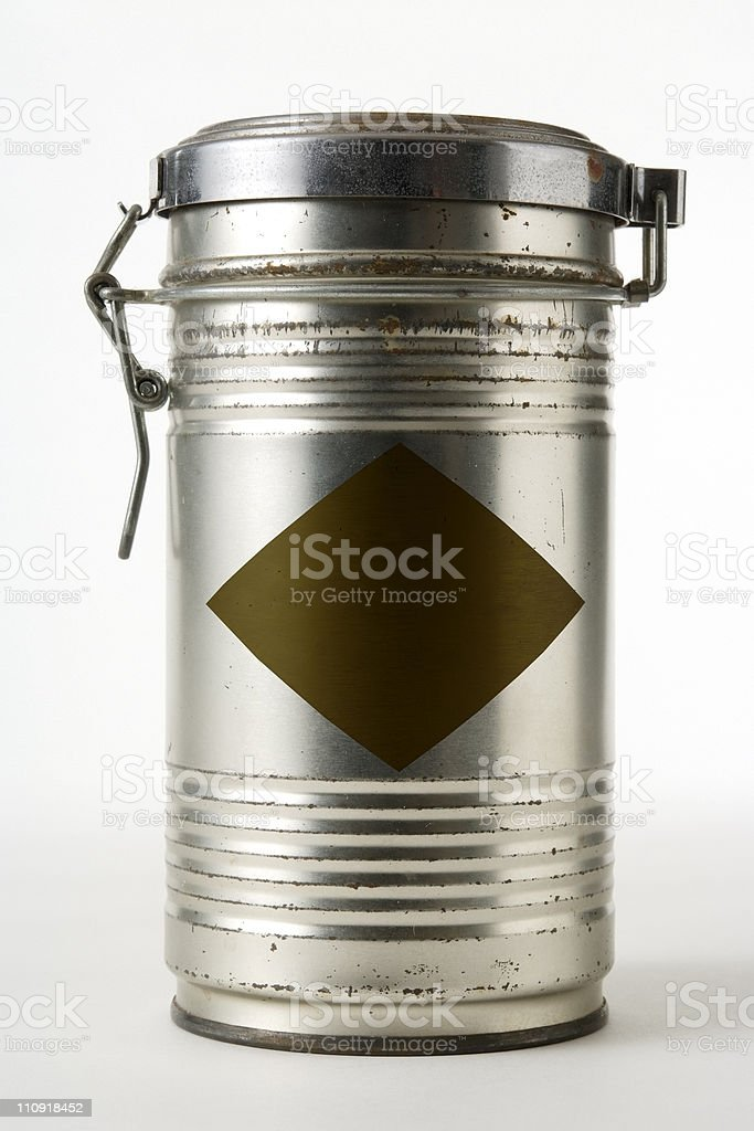 Isolated shot of blank steel can on white background royalty-free stock photo