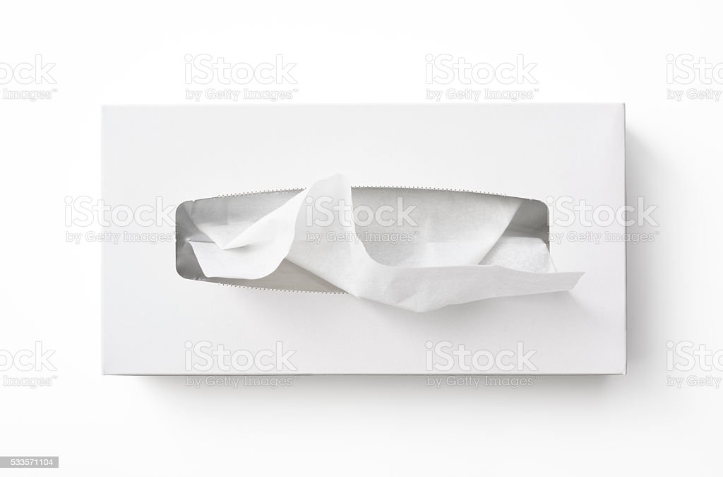 Isolated shot of blank tissue paper box on white background stock photo