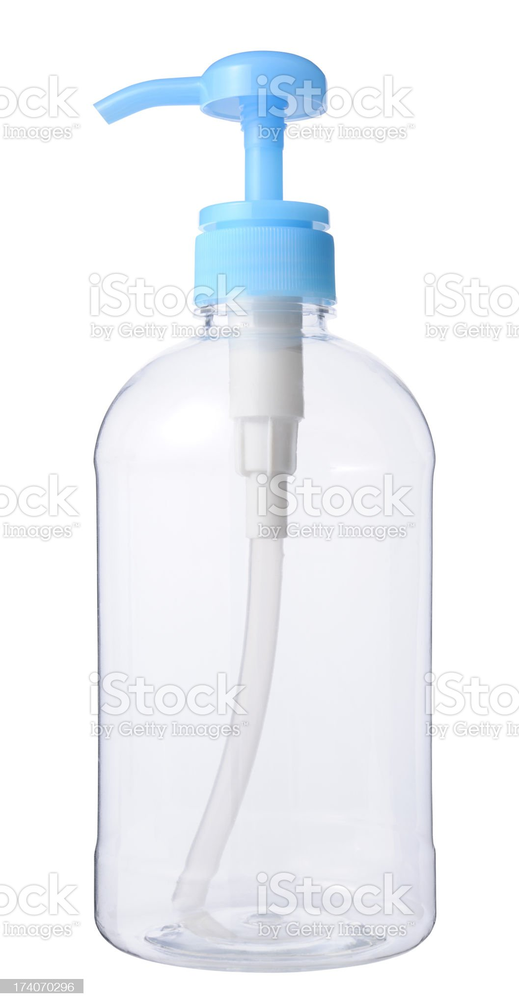 Isolated shot of blank transparency soap dispenser on white background royalty-free stock photo