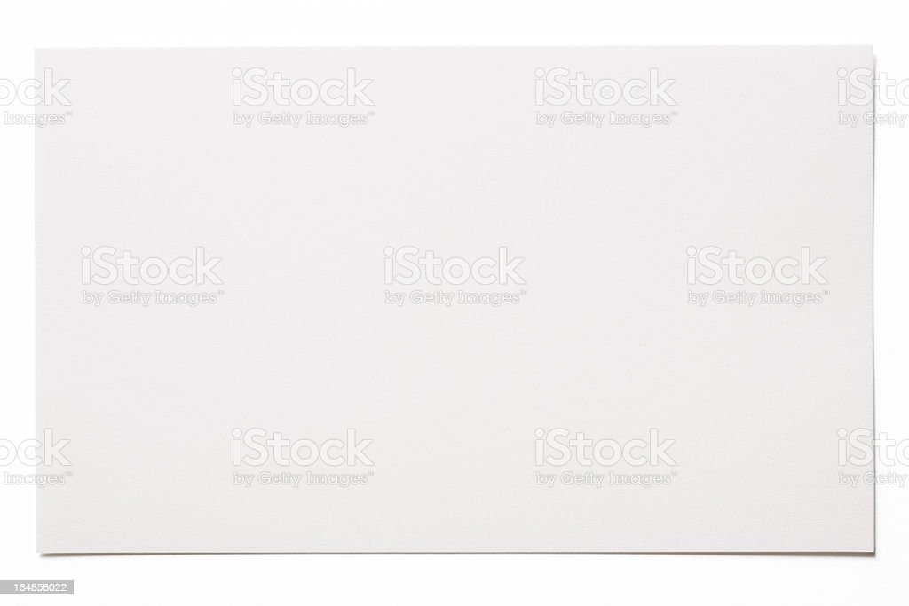Isolated shot of blank white card on white background stock photo