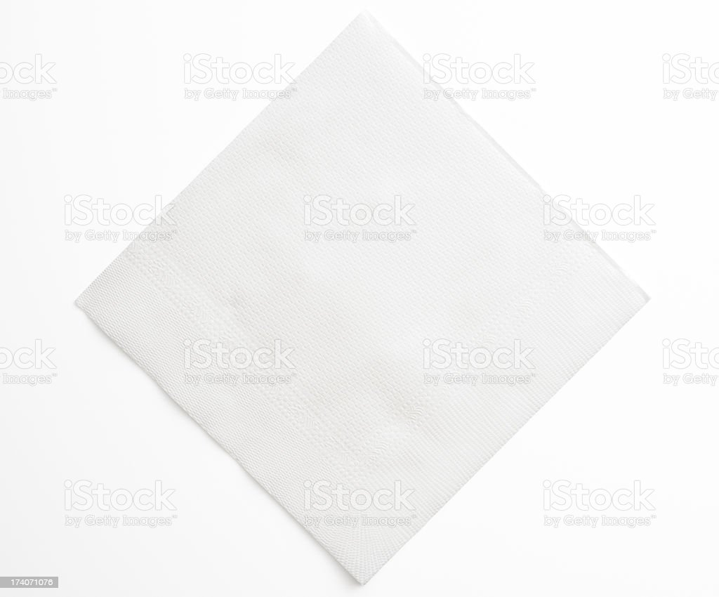 Isolated shot of blank white paper napkin on white background stock photo