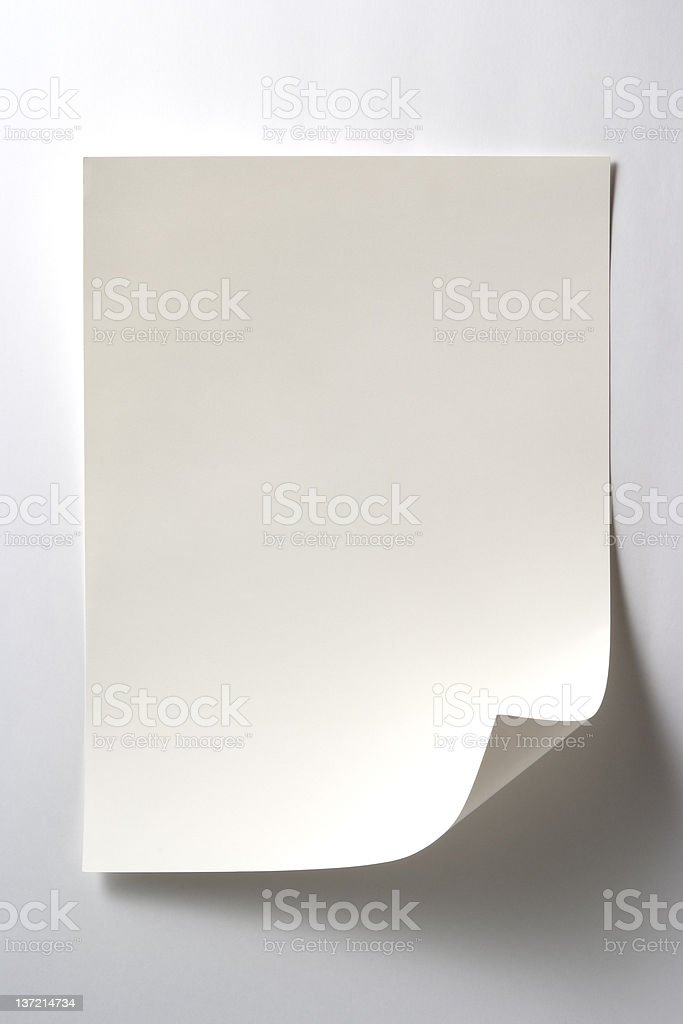 Isolated shot of blank white paper on white background stock photo