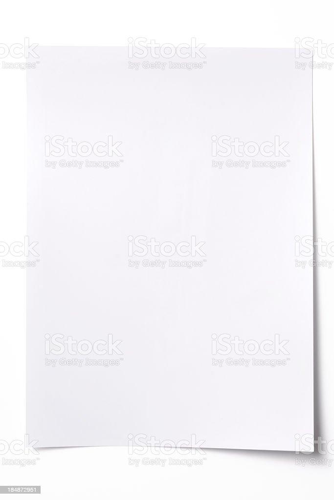 Isolated shot of blank white paper sheet on white background royalty-free stock photo
