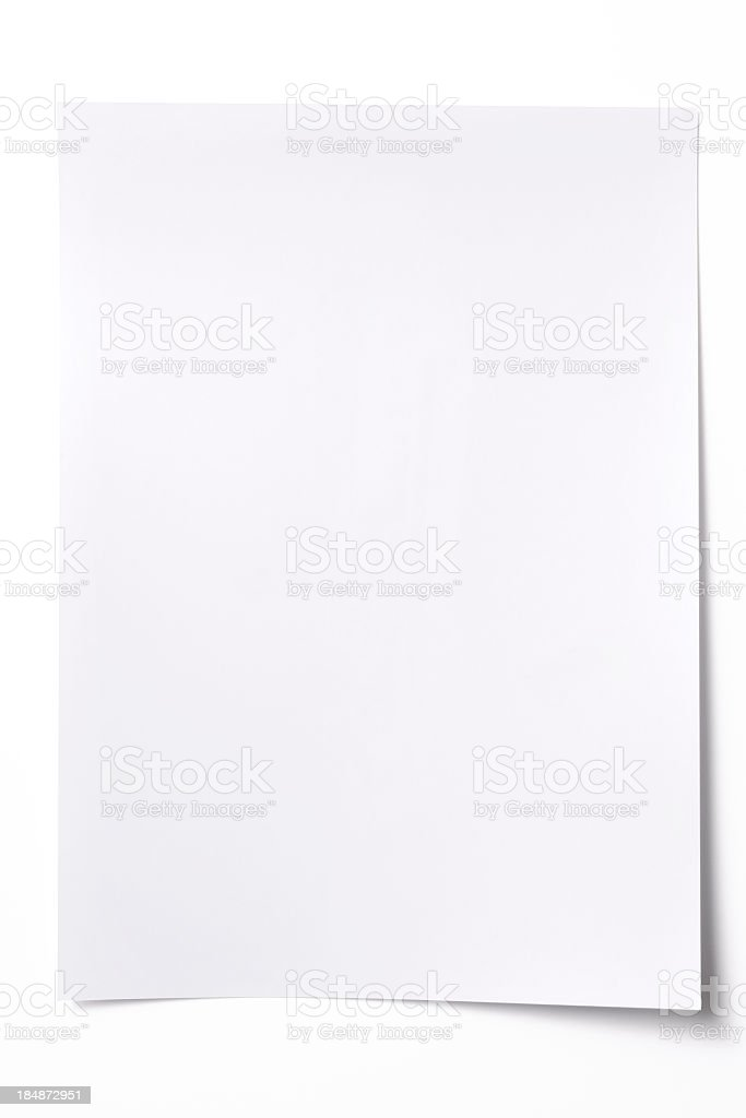 Isolated shot of blank white paper sheet on white background stock photo