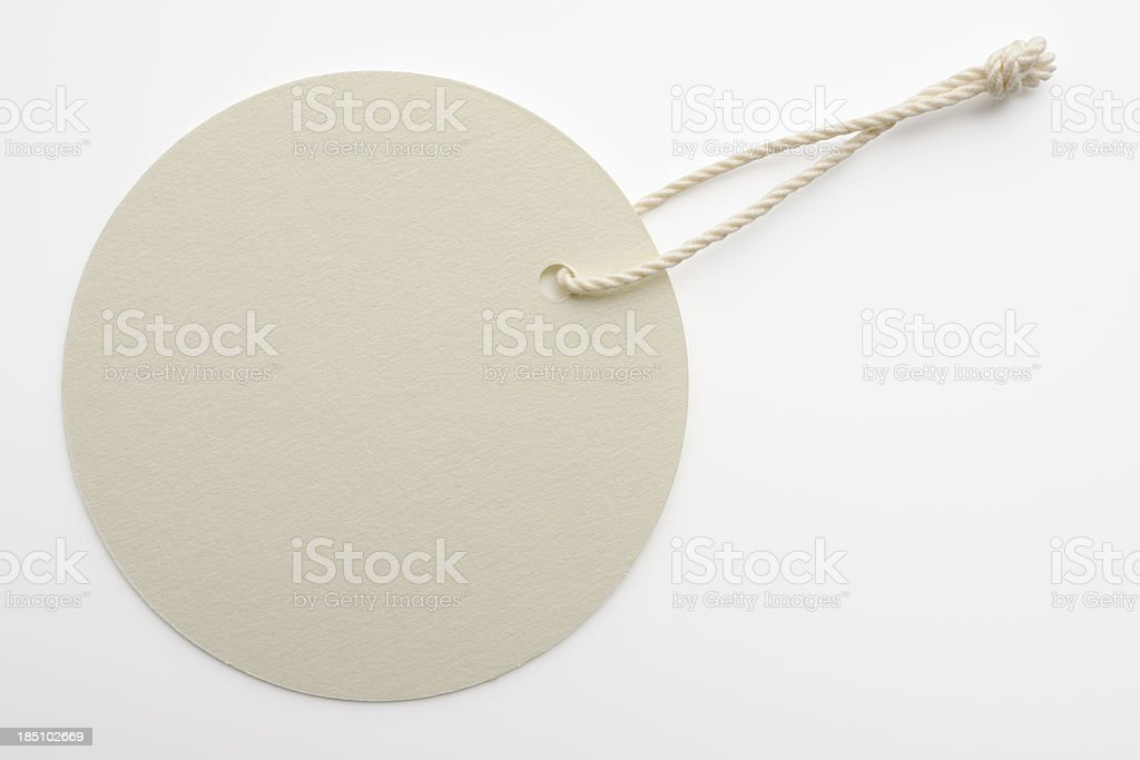 Isolated shot of blank white round tag on white background royalty-free stock photo