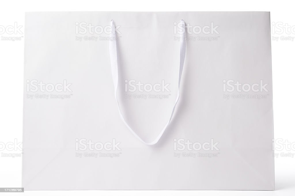 Isolated shot of blank white shopping bag on white background royalty-free stock photo
