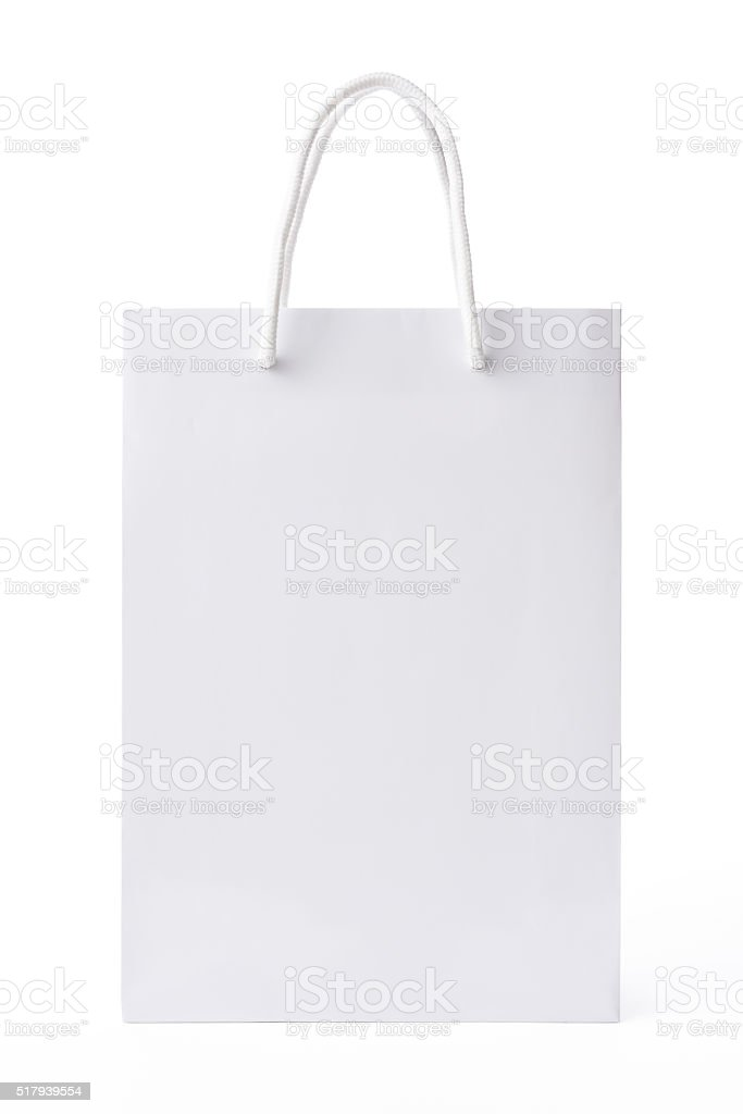 Isolated shot of blank white shopping bag on white background stock photo