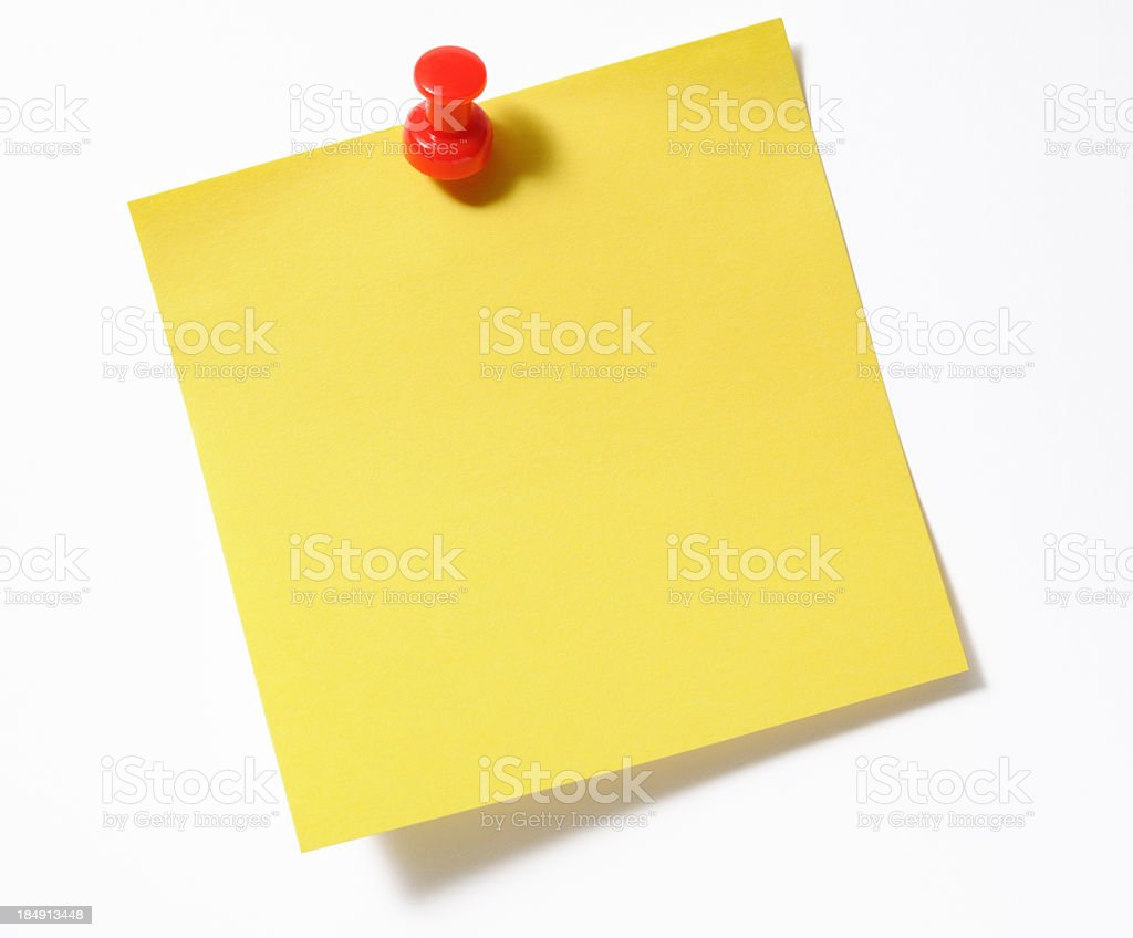 Isolated shot of blank yellow sticky note with red thumbtack royalty-free stock photo