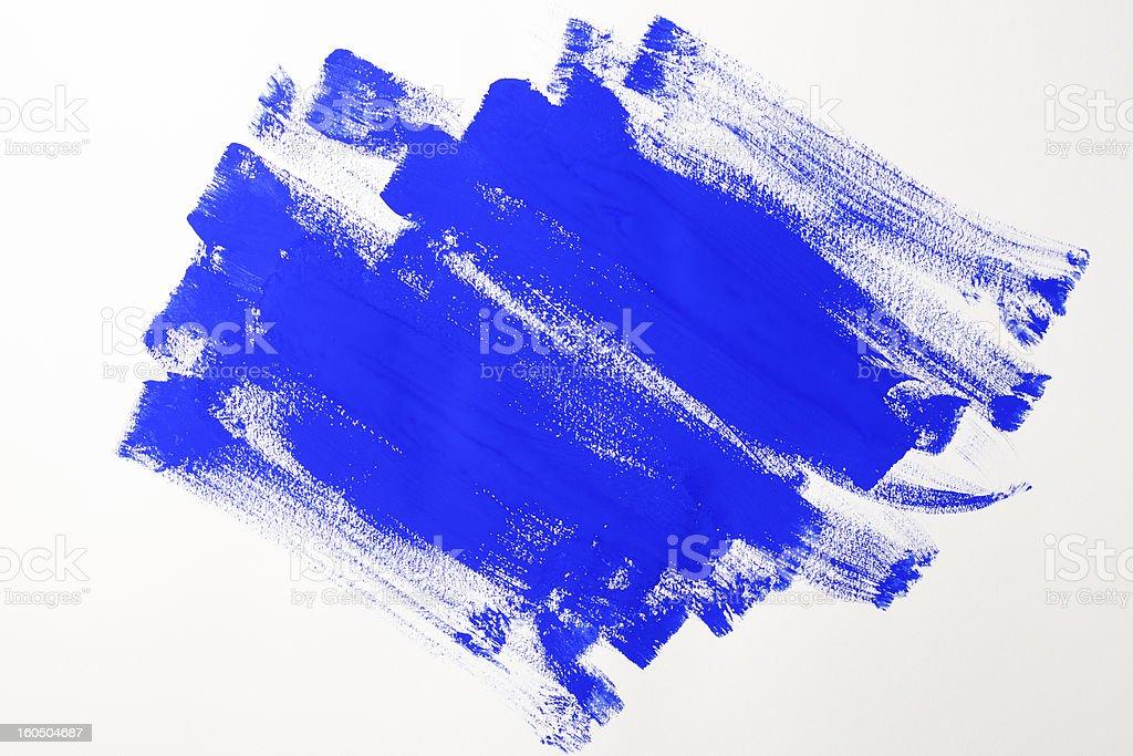 Isolated shot of blue painted on white background stock photo
