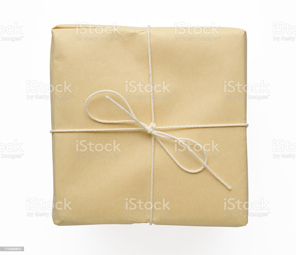 Isolated shot of brown package on white background stock photo