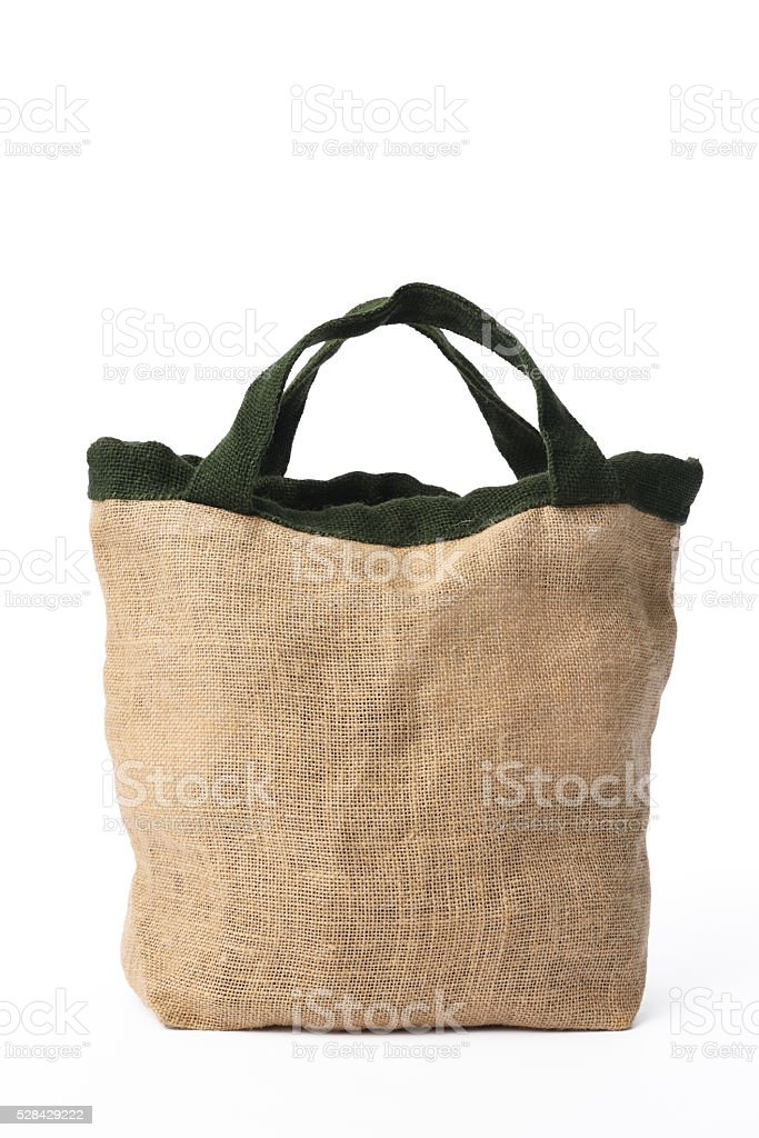 Isolated shot of burlap bag on white background stock photo