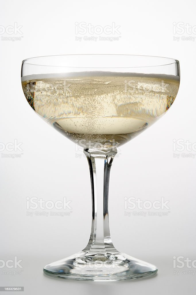 Isolated shot of Champagne glass on white background stock photo