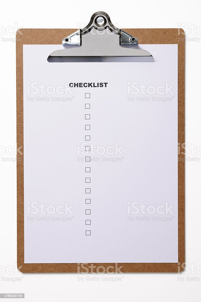Isolated shot of clipboard with blank checklist on white background royalty-free stock photo