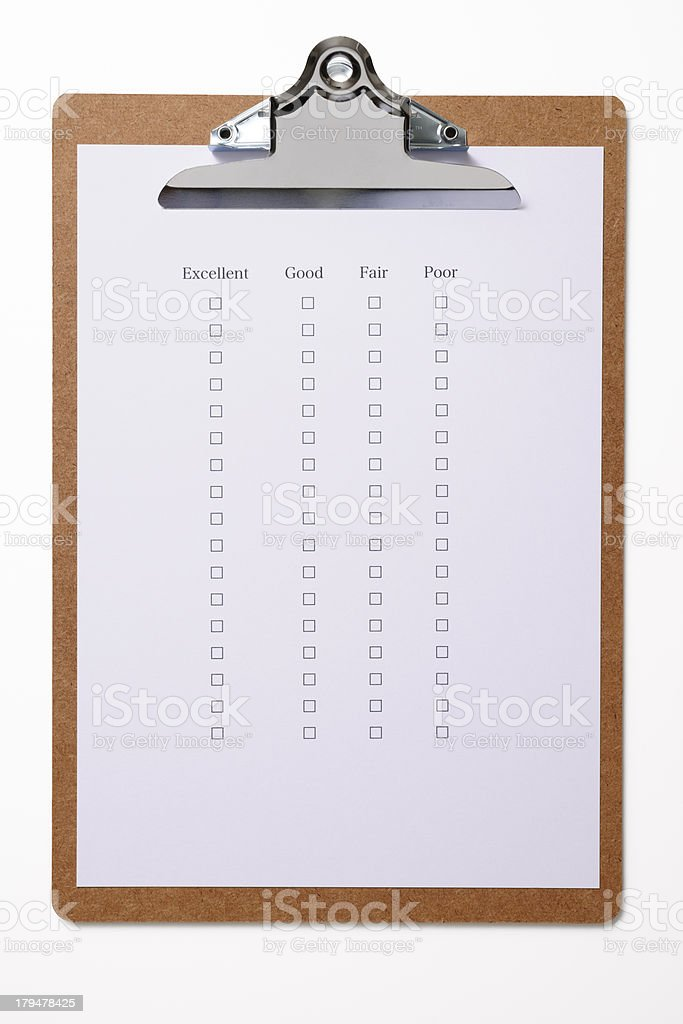 Isolated shot of clipboard with customer survey checklist on white stock photo