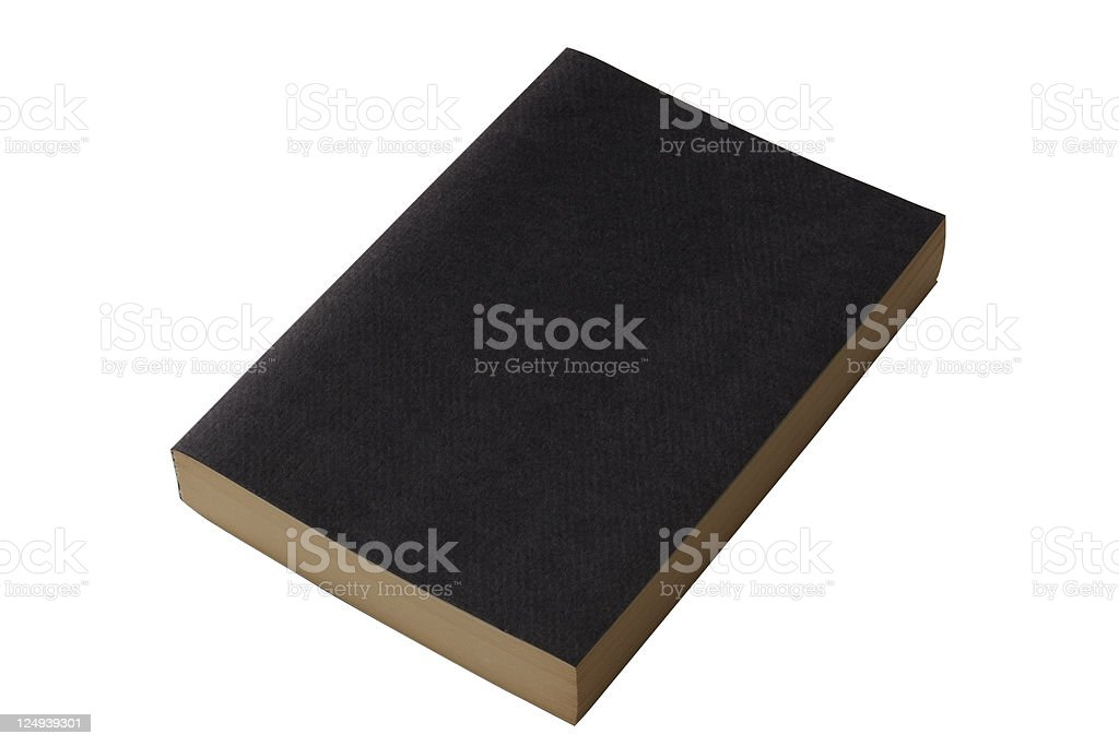 Isolated shot of closed blank black book on white background royalty-free stock photo