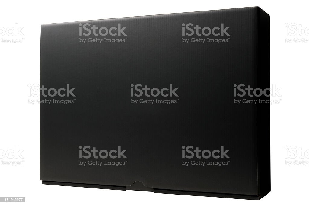 Isolated shot of closed blank black box on white background royalty-free stock photo