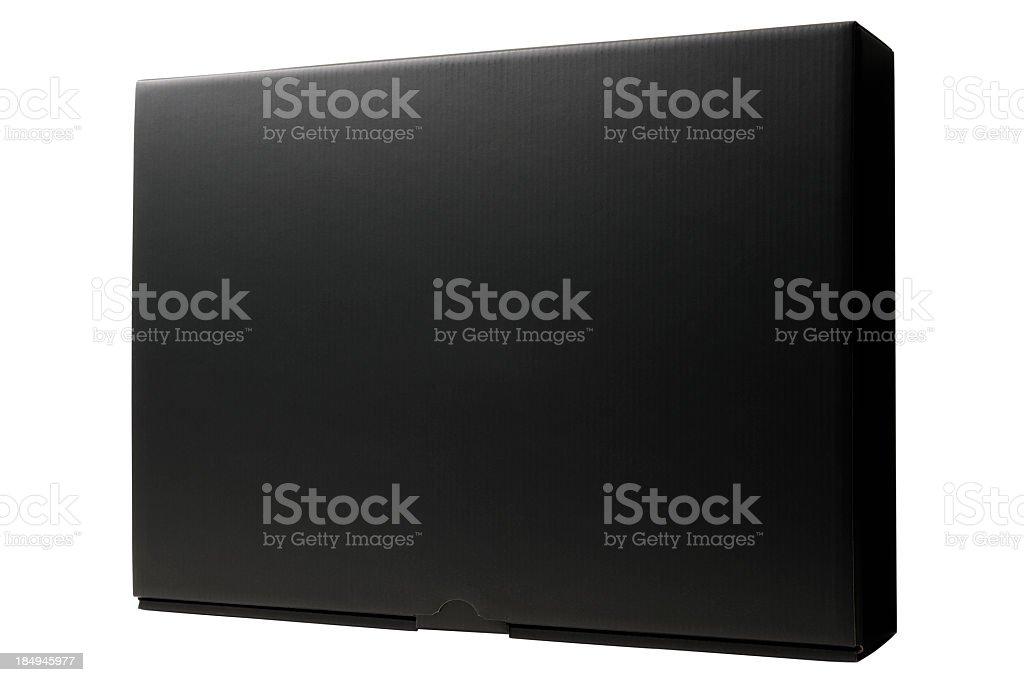 Isolated shot of closed blank black box on white background stock photo