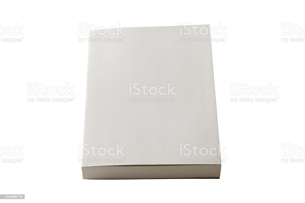 Isolated shot of closed blank book on white background stock photo