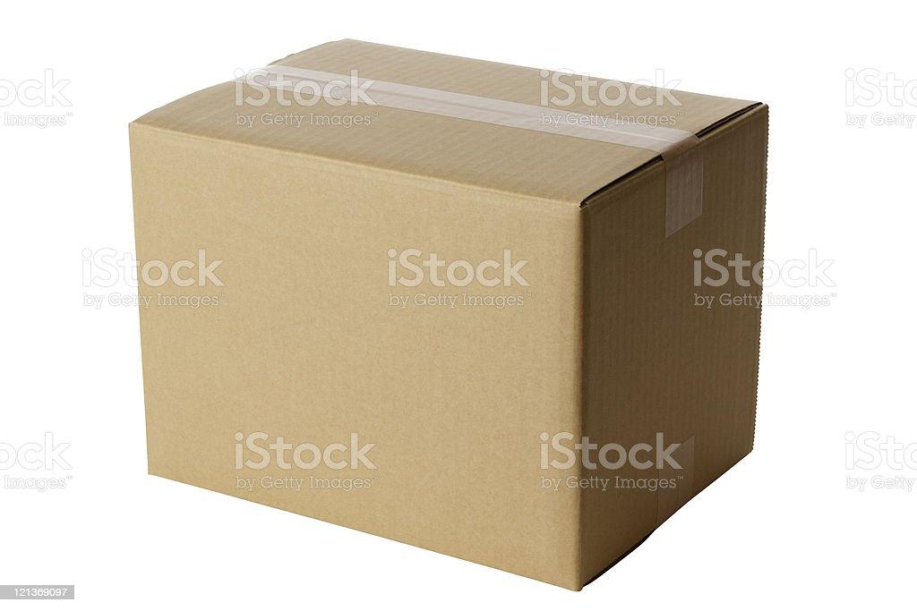 Isolated shot of closed blank cardboard box on white background stock photo