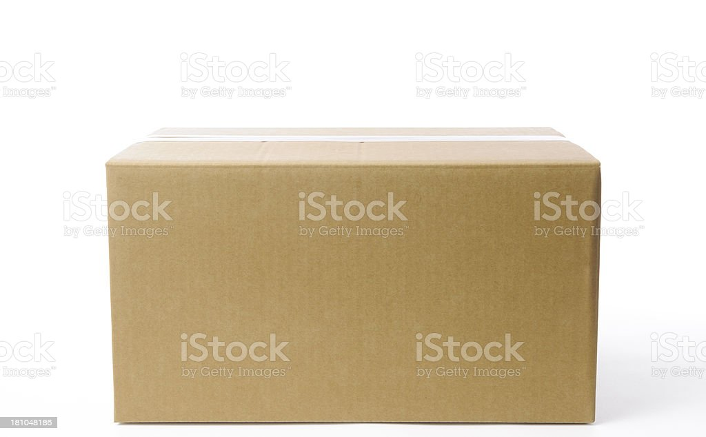 Isolated shot of closed blank cardboard box on white background stock photo
