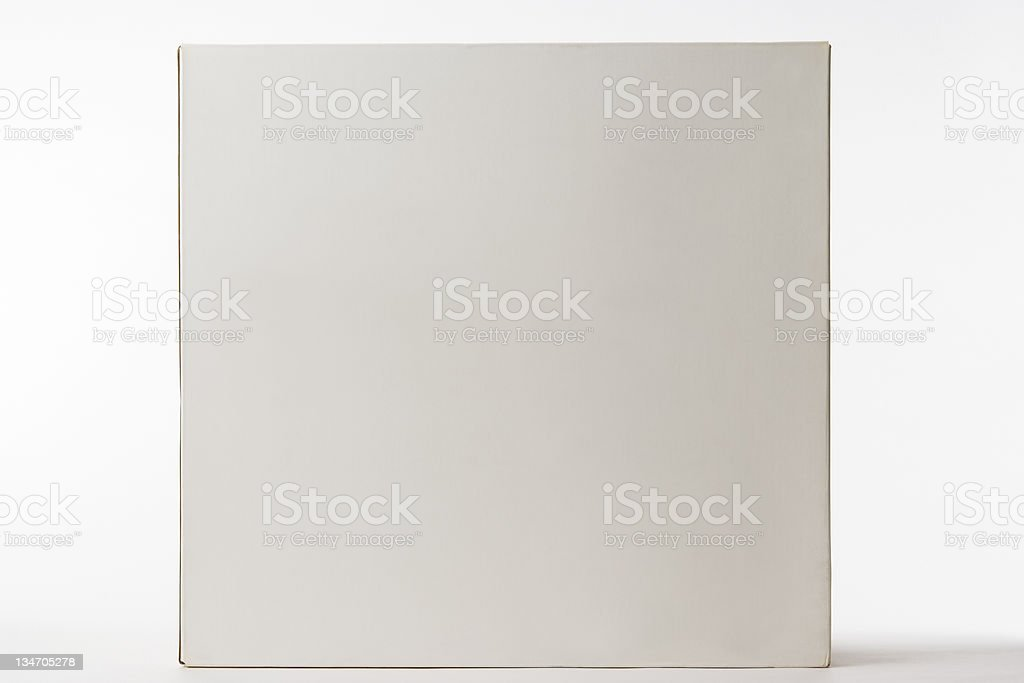 Isolated shot of closed blank cube box on white background royalty-free stock photo