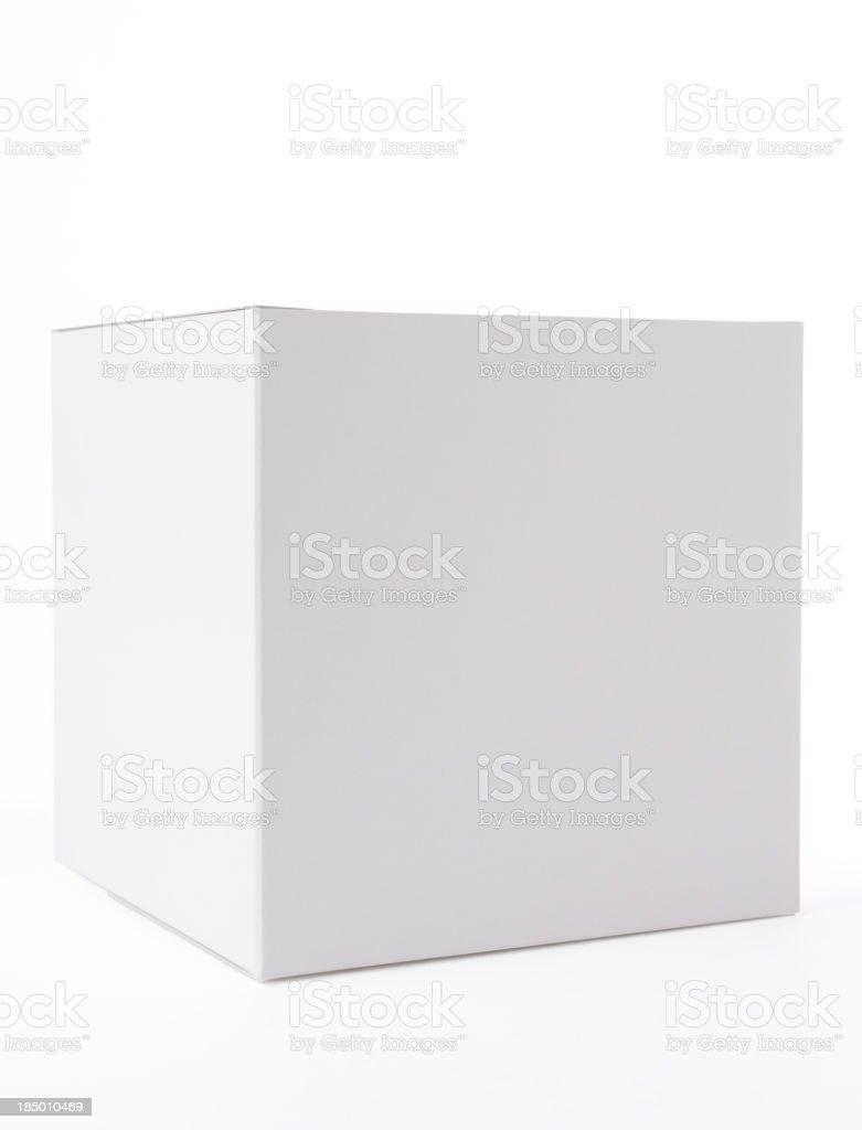Isolated shot of closed blank cube box on white background royalty-free stock photo