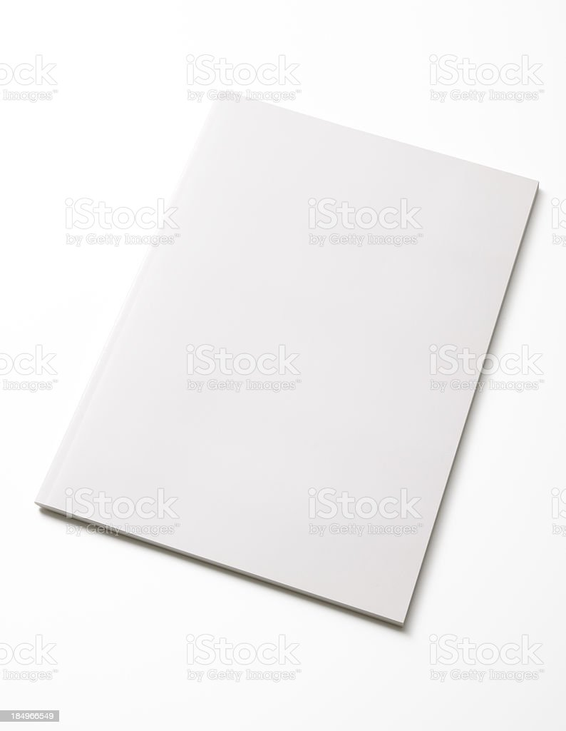 Isolated shot of closed blank magazine on white background stock photo