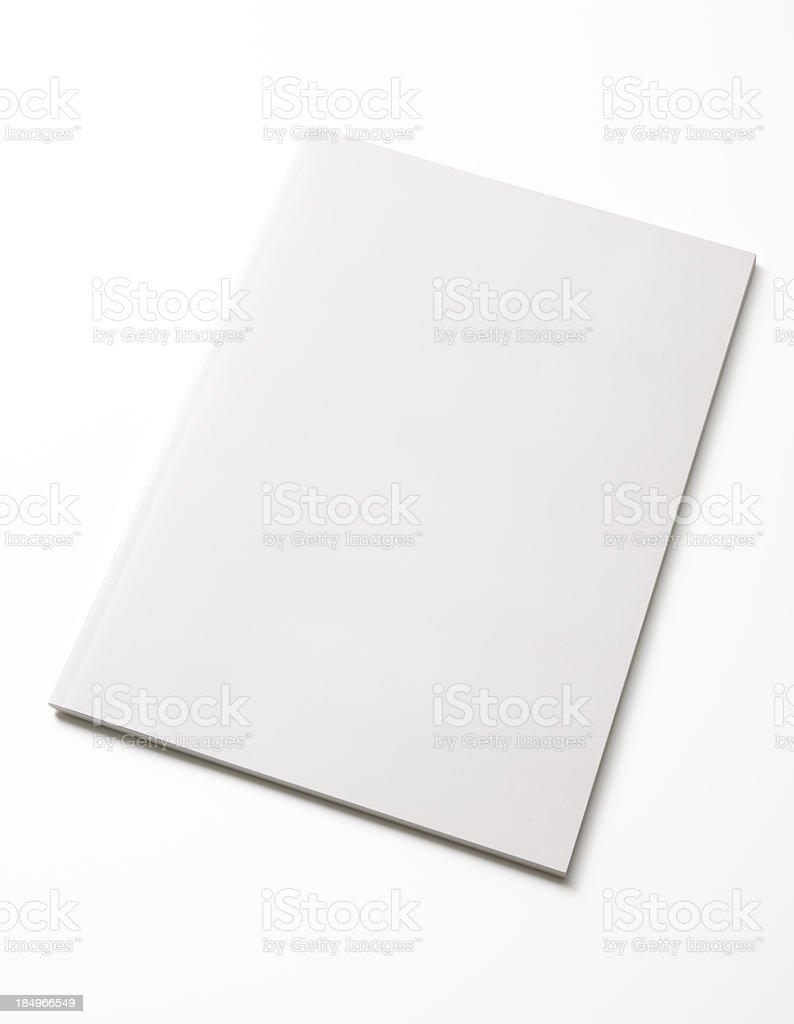 Isolated shot of closed blank magazine on white background stock photo