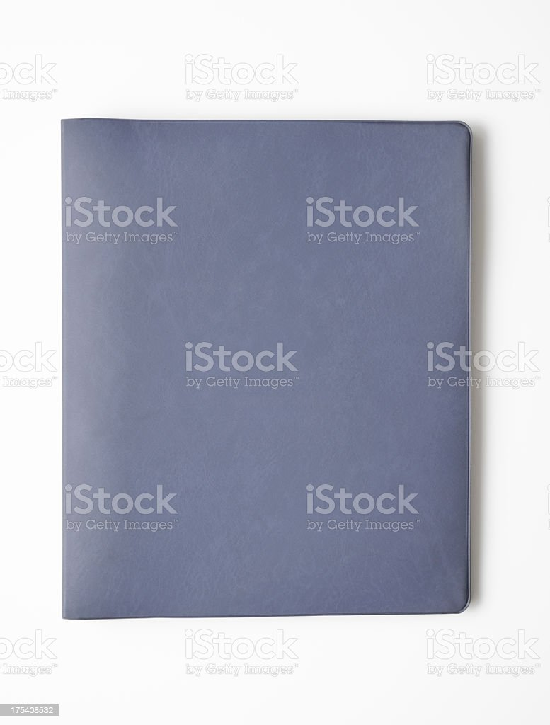 Isolated shot of closed blank ring binder on white background stock photo