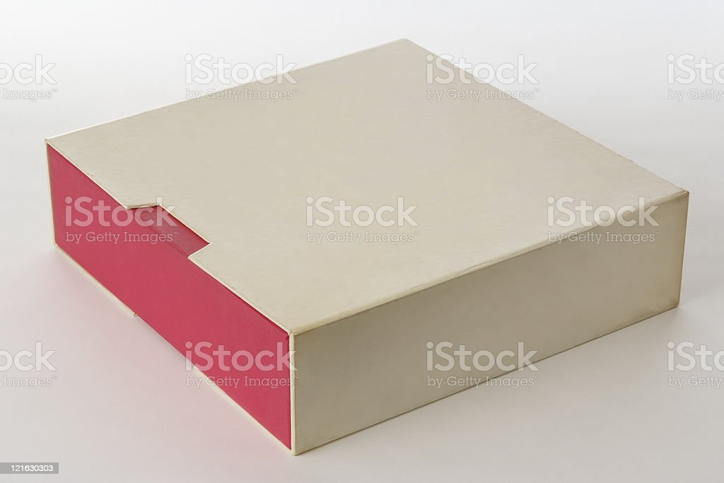 Isolated shot of closed old blank box on white background stock photo