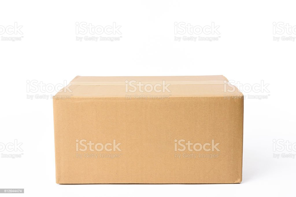 Isolated shot of closed rectangular cardboard box on white background stock photo