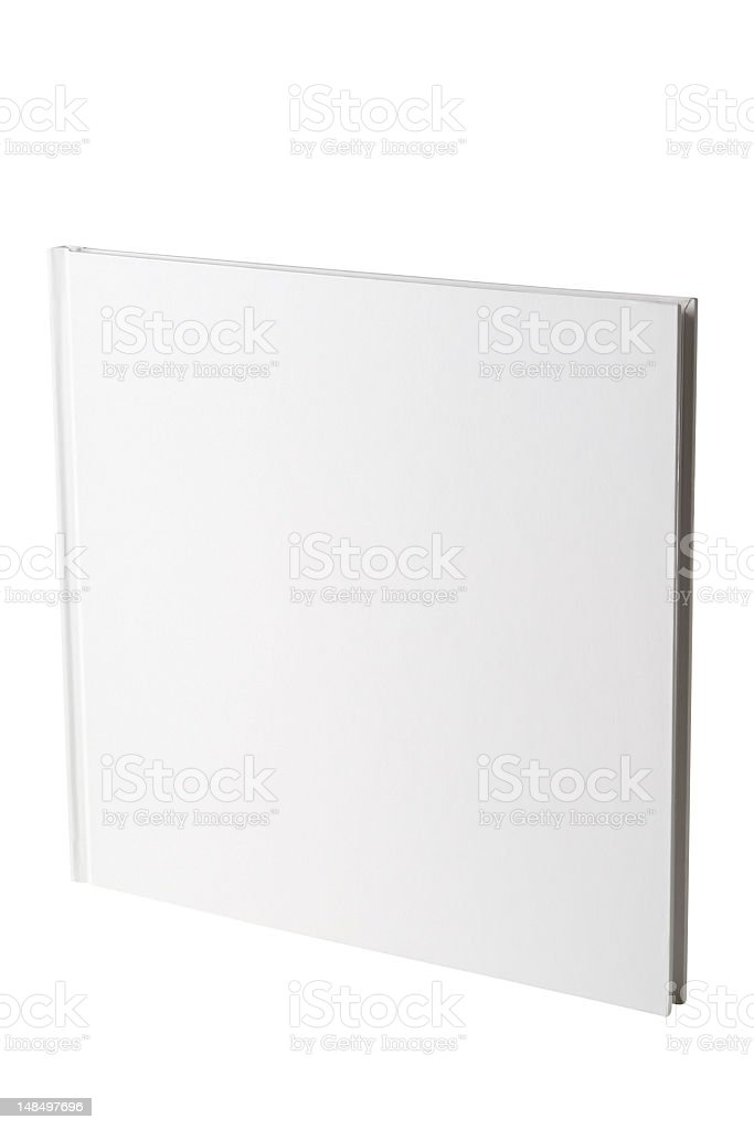 Isolated shot of closed square blank book on white background stock photo