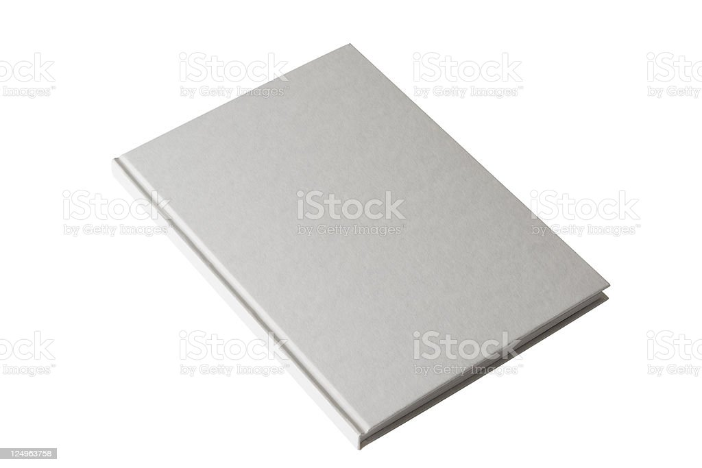 Isolated shot of closed white blank book on white background stock photo