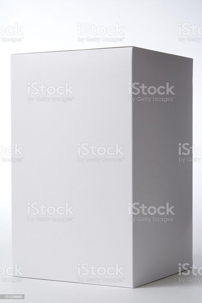 Isolated shot of closed white blank box on white background royalty-free stock photo