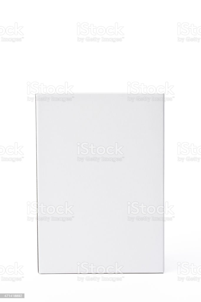Isolated shot of closed white blank box on white background stock photo
