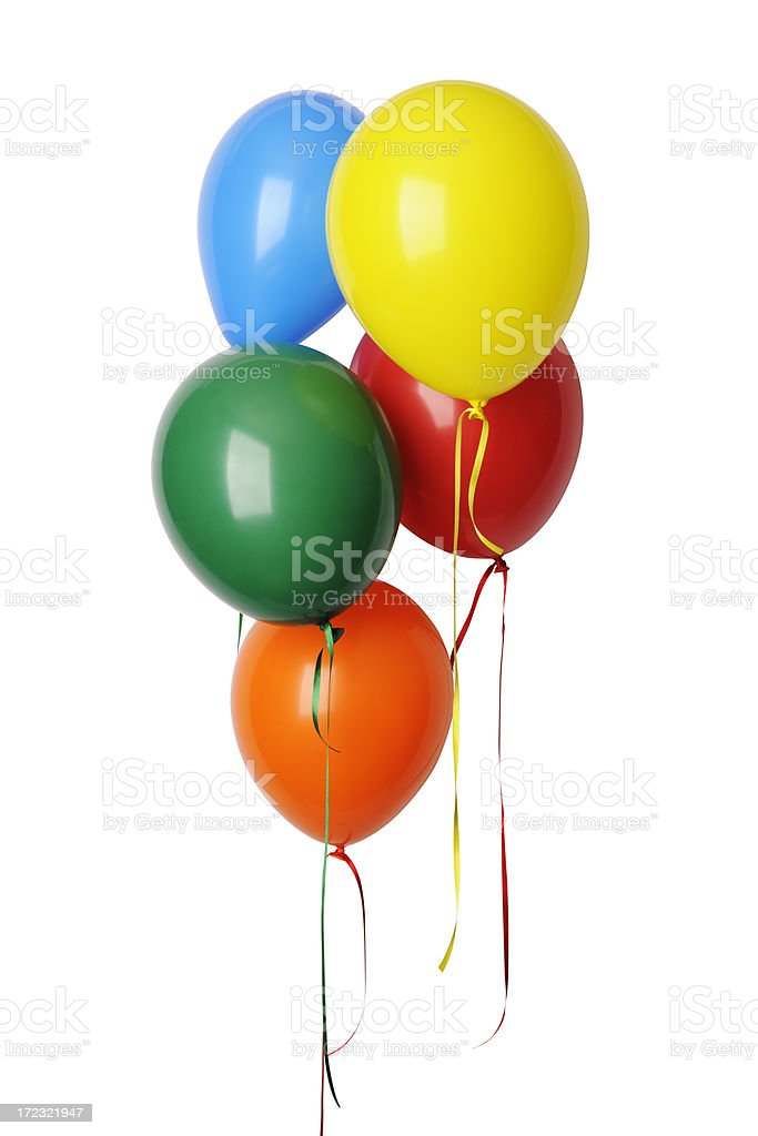 Isolated shot of colorful balloons with ribbon against whte background royalty-free stock photo