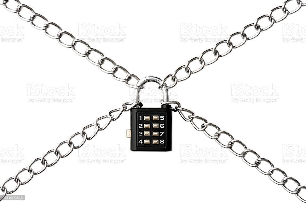 Isolated shot of combination lock with chain on white background stock photo