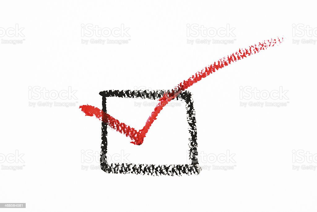 Isolated shot of crayon drawing check box on white background stock photo