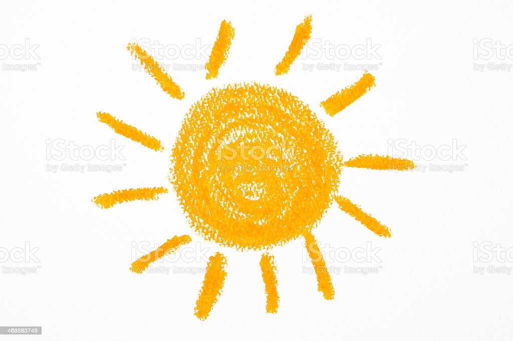 Isolated shot of crayon drawing the Sun on white background stock photo