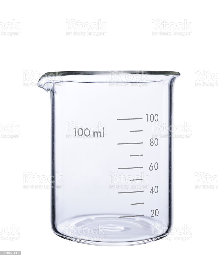 Isolated shot of empty measuring beaker on white background stock photo